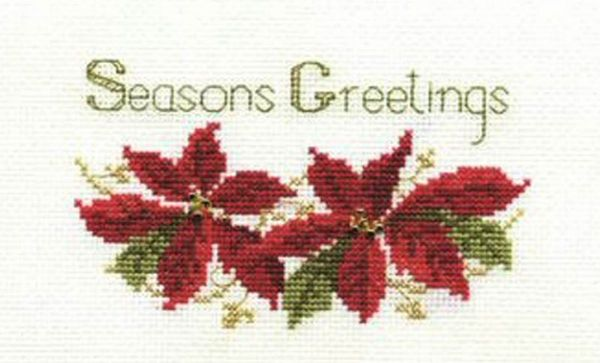Poinsettias Christmas Card Cross Stitch Kit
